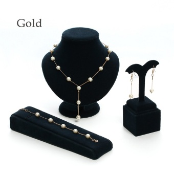 Okdeals 1 Set New Fashion Pearl Chain Necklace Bracelet Earrings Golden Sliver Jewelry Sets Women Romantic Personality Jewelry Nice Gift