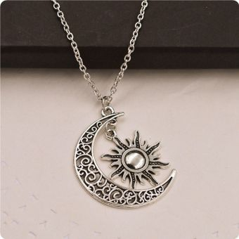 Okdeals 1PC Fashion Women Vintage Creative Silver Crescent Moon Sun Charm Pendant Crescent Moon And Sun Party Necklace