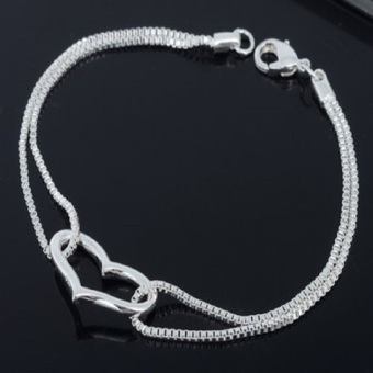 Okdeals 925 Silver Plated Heart Love Bracelet Silver Chain Lady Women Jewelry