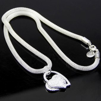 Okdeals 925 sterling Silver Charm Heart Pendant Beautiful women Necklace silver
