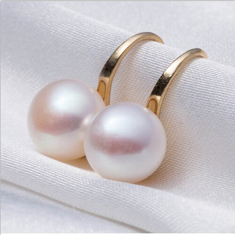 Okdeals Elegant Pearl Rhinestone Stud Hook Earrings (Gold)