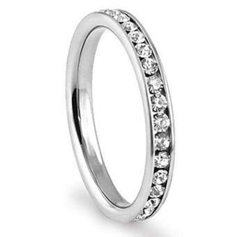 Okdeals Eternity CZ 316L Stainless Steel Engagement Wedding 3mmBand Ring Silver