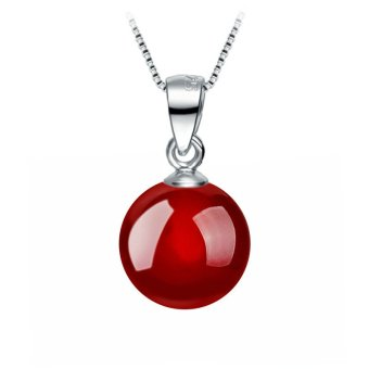 Okdeals Fashion 925 Solid Sterling silver Necklace 8mm Natural Agate bead Pendant Red