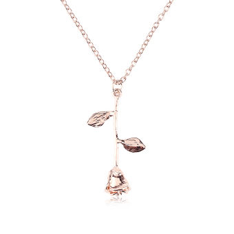 Okdeals Newest Delicate Rose Flower Pendant Necklace Beauty Rose Gold Silver Charm Jewelry Nice Gift Pendant Necklace