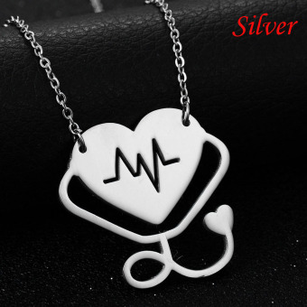 Okdeals Newest Medical Doctor Nurse Hollow Heart StethoscopeCardiogram Pendant Chain Necklace Jewelry Pendant Necklace