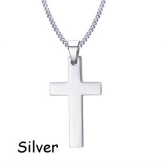 Okdeals Newest Men Cross Pendant Necklace Stainless Steel Link Chain Necklace Statement Jewelry Necklace Nice Gift