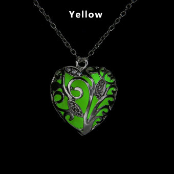 Okdeals Newest Unique Magical Fairy Glow in the Dark Hollow Pendant Locket Heart Luminous Necklace Nice Gift