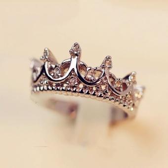Okdeals Rose Gold Band Rhinestone Rings Queen Crown Princess Women- intl - 2