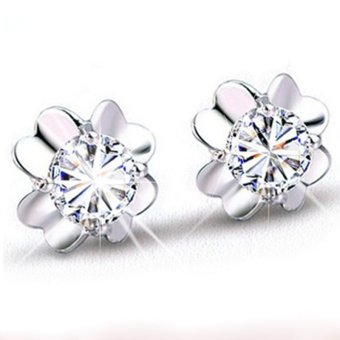 Okdeals Women 925 Silver Plated Four Leaf Clover Crystal Stud Earrings (White)