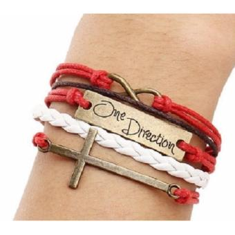 One Direction Infinity Red White Handmade Bracelet Multilayer CrossUnisex Charm Bracelet Price Philippines