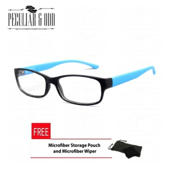 Optical Rectangular Lightweigth Eyeglass 2087_BlackBlue Replaceable Lenses with Spring Hinges_Unisex