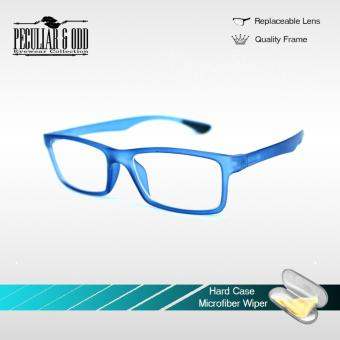 Optical Rubberized Frame XQY7926_TransBlue Rectangular Computer Eyeglasses Anti Glare Replaceable Lens with Rubberized Template Stopper Unisex