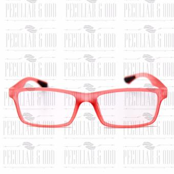 Optical Rubberized Frame XQY7926_TransRed Rectangular Computer Eyeglasses Anti Glare Replaceable Lens with Rubberized Template Stopper - 2