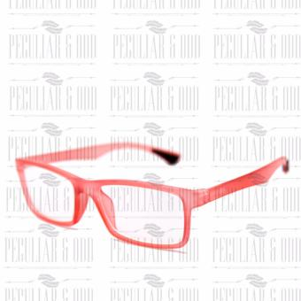Optical Rubberized Frame XQY7926_TransRed Rectangular Computer Eyeglasses Anti Glare Replaceable Lens with Rubberized Template Stopper - 3