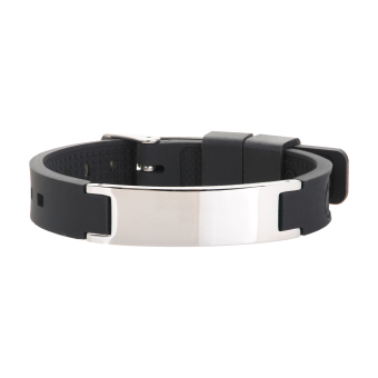 Original negative ion black silicone band with silver tag energy power bracelet- Intl