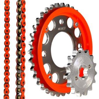 Osaki Raider 150 15-45x428-132 Neon Orange Chain Set with ChainGuide Orange Neon - 2
