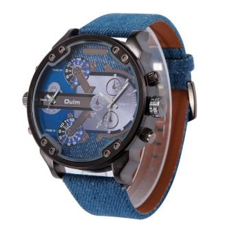 OULM Brand Big Dial Men' s Army Military Quartz Sport PU Band WristWatch - intl Price Philippines
