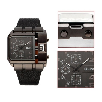 OULM Men Male Unique Leather Strap Square Alloy Case Quartz Wrist Watch Black - intl - 4