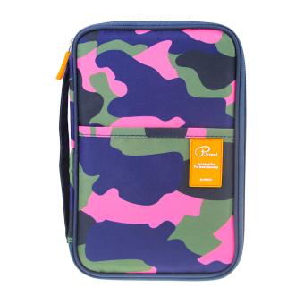 Over 18 Slots & Pockets Passport Wallet Passport HolderOrganiser Travel Wallet Purse Document Organizer iPad Mini TicketBoarding Card Credit ID Card Cash iPhone Storage Case, CamouflageRose Red - intl - 3