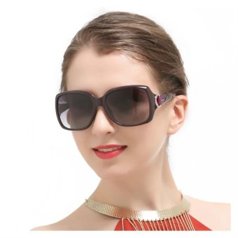 Oversized Square Vintage Women Polarized Sunglasses Black Retro Glasses - Intl