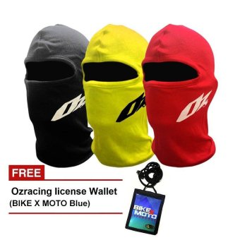 Oz racing Balaclava Facemusk (Black,Red,Yellow) Bundle With Ozracing License Wallet (Bike X Moto) With Free Motorcycle Sticker Price Philippines