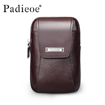 Padieoe New Fashion Mens Bag Genuine Leather Waist Bag Casual Zipper Fanny Pack Waist Pouch Mini Men Waist Bags Brown Vertical Section 3.9inch (No Belt ) - intl Price Philippines