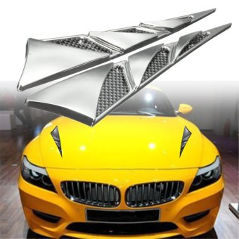 Pair ABS Universal Car Hood Vent Cover Decorative Sticker (Chrome) - intl