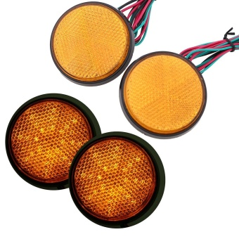 Pair Universal Motorcycle Rear Tail Yellow LED Round ReflectorBrake Stop Light - intl