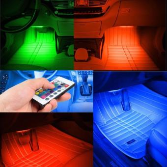 PAlight Wireless Music Remote Control Car RGB LED Neon InteriorLight Lamp Strip Decorative Lights - intl