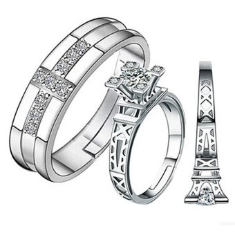 Paris Eiffel Tower Jewelry Lady Men Silver White Sapphire Ring GiftCouple Rings