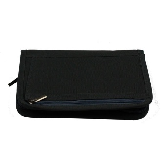 Passport Holder (Black) with Free Digital Gadget Devices CablePouch (Color may vary)
