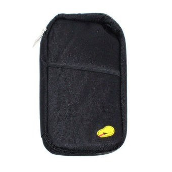 Passport Holder Long (Black) with Free Portable Mini USB Fan (Colormay vary)