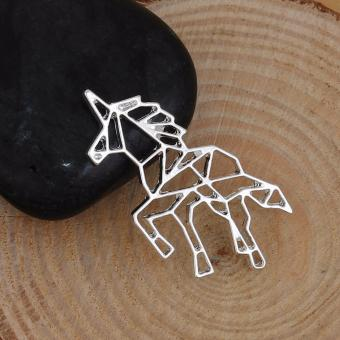 Patrick Lovebird Unicorn Origami Long Necklace (Silver Tone) - 4