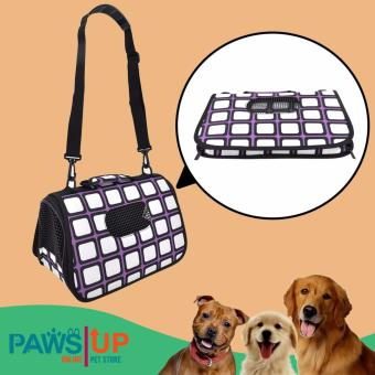 Paws UP Portable Foldable Pet Carrier Travel Bag printed Squarepattern design