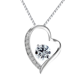 Pealrich 925 Sterling Silver Forever Love Heart Diamond PendantNecklace - intl