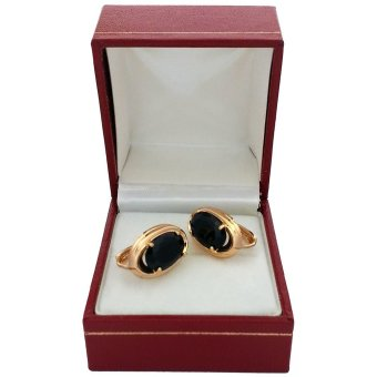 Persian Princess Marina Yellow Gold Cubic Zirconia Hoop Earrings (Black/Gold)