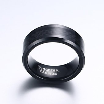 Personality Black 8MM Carbon Fiber Tungsten Steel Ring Mens Jewelry Size 7-12 - intl - 5