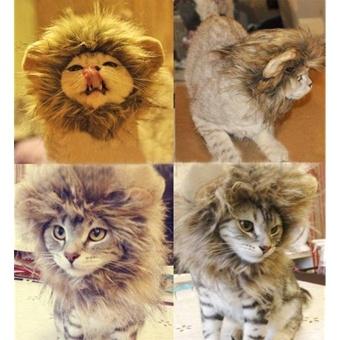Pet Costume Lion Mane Wig for Cat Christmas Xmas Santa Halloween Clothes Festival Fancy Dress up (Light Brown, S) - intl
