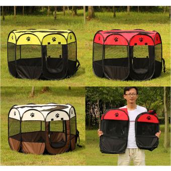 Pet Dog Bed Kennel Play Pen Soft Playpen Cage Folding Crate Red-LSize - intl Price Philippines