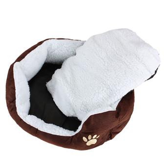 Pet Dog Puppy Cat Soft Fleece Warm Nest Bed Plush Pad CottonMatHouse Coffee - 2