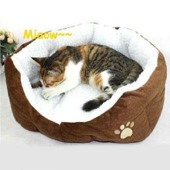 Pet Dog Puppy Cat Soft Fleece Warm Nest Bed Plush Pad CottonMatHouse Coffee - 5