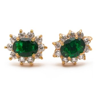Piedras Addie 14 Emerald Earrings with Diamond / cubic zirconia(Yellow Gold)