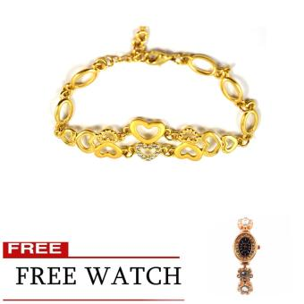 Piedras Bijoux Gold Plated Bracelet with Crystal and Ladies Fashion Watch with Crystal