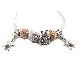 piedras jewelry Pandora stainless steel charm bracelet with inamelbeads (multi color) - 2
