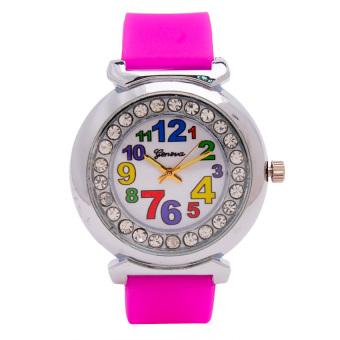 Piedras Women's Fushia Silicone Strap Watch wt09