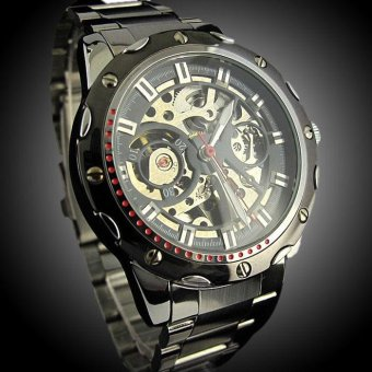 Pierced Stainless Steel Waterproof Automatic Mechanical Watch BK+BK - intl Price Philippines