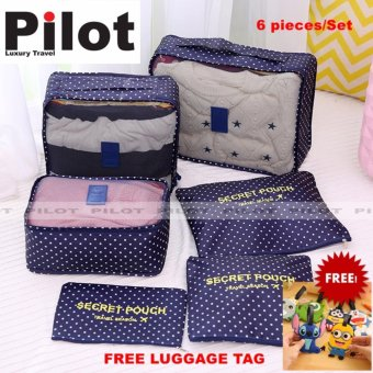 Pilot 1002 Travel Accessories 6-piece Travel Organizer Bag Set WithFree Luggage Tag (Dark Blue Dots)