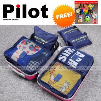 Pilot Korean Style 1002 Travel Accessories 6-piece Travel Organizer Set Big Size Mesh Bag Best Gift With Free Luggage Tag (Navy Blue)