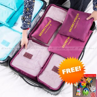 Pilot Korean Style 1002 Travel Accessories 6-piece Travel OrganizerSet Big Size Mesh Bag Best Gift With Free Luggage Tag (Burgundy)