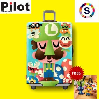 Pilot Korean Style Travel Accessories 18-20 Inches(S) ElasticCartoon Lovely Luggage Protector Waterproof Spandex Travel SuitcaseCover Trolley Case( Luigi)With FREE Luggage Tag